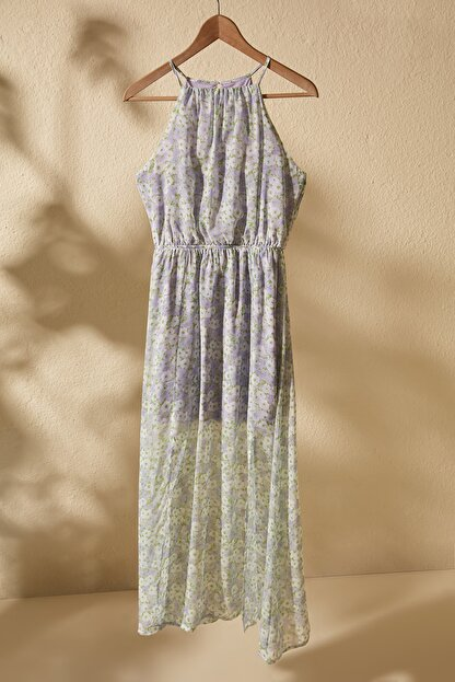 TRENDYOLMİLLA Lila Çiçek Desenli Yırtmaçlı  Elbise TWOSS20EL1297