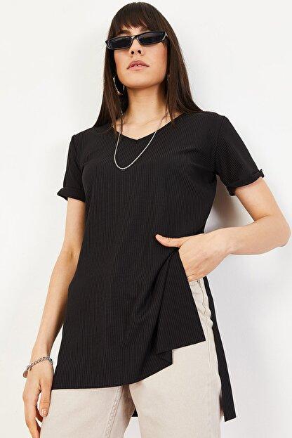 Bianco Lucci Kadın Siyah Kol Yan Yırtmaçlı Kol Detay Kaşkorse T-Shirt 10051012