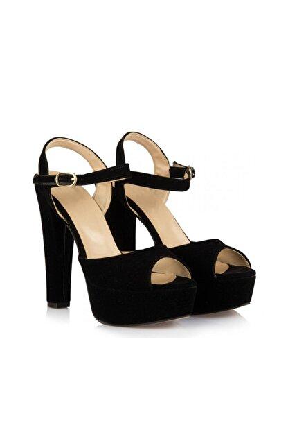 sothe shoes Siyah Süet Bayan Platform Kalın Topuklu Kadın Ayakkabı