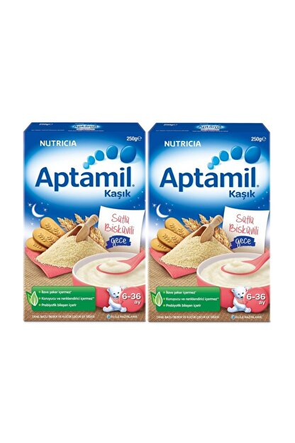Aptamil Sütlü Bisküvili Gece Kaşık Maması 250 Gr. X 2 Adet