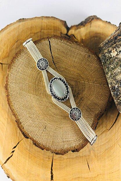 Sungurbey Gümüş Dünyası Sedef Taşlı Mardin Hasırı Gümüş Bayan Bileklik