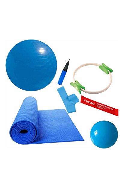 Povit 6'lı Pilates Seti 6 Mm Mavi Mat, 30 Cm Top, 65 CM Top, Bant , Çember , LoopBand
