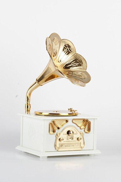 Okumuşlar Hediyelik Dekoratif Gramofon Müzikli Beyaz