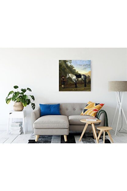 TABLO KANVAS Abraham Van Calraet A Boy Holding A Grey Horse Kanvas Tablo