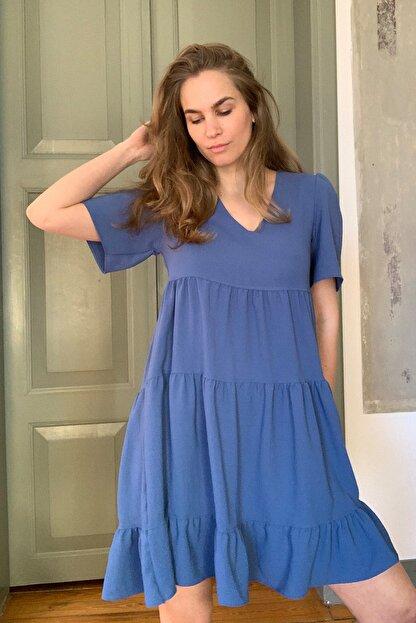 TRENDYOLMİLLA Indigo Geniş Kesim Elbise TWOSS20EL0400