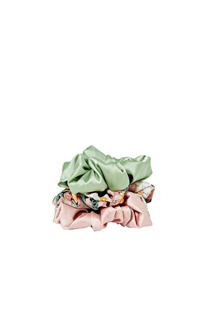 Stradivarius Kadın Yeşil 3'Lü Çiçek Desenli Saç Lastiği Paketi 00239009