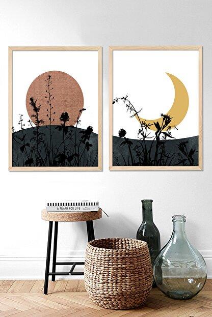 Vetro Design Güneş ve Ay Çerçeveli Tablo Set (40x50 cm)
