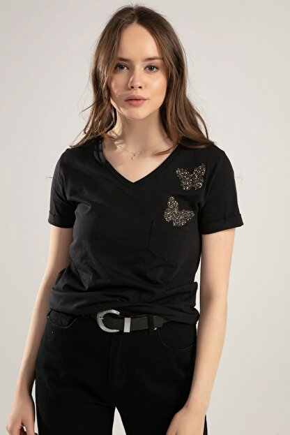 Pattaya Kadın V Yaka Kelebek Detaylı Duble Kol Tişört Y20s134-1138