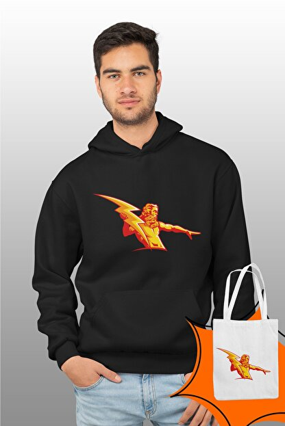 Angemiel Wear Şimşek Zeus Siyah Erkek Kapüşonlu Sweatshirt Çanta Kombin