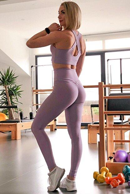 Alışveriş Sokağı Scrunch Butt Leggings Arkası Büzgülü Yüksek Bel Spor Tayt