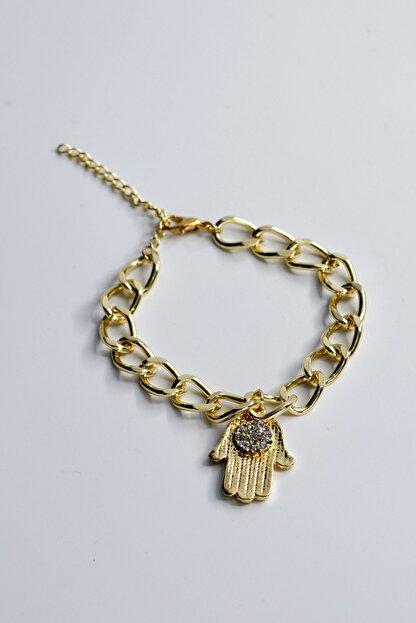 Loviyan Fatma Ana Eli Taşlı Zincir Bileklik – Gold