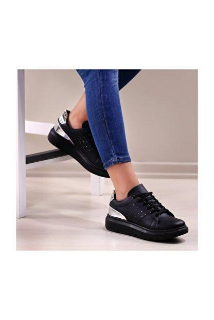 WoW Ayakkabı Siyah Gümüş Spor Ayakkabı