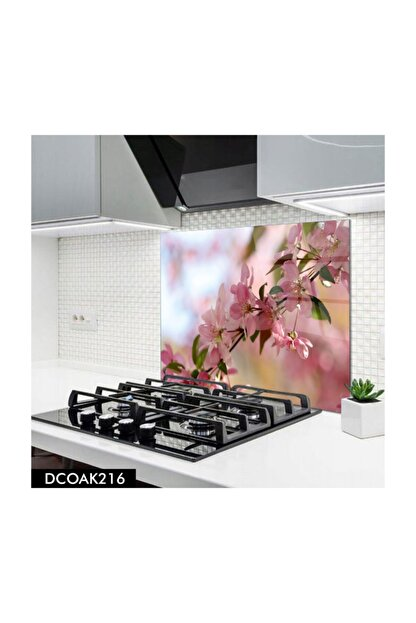 PRATİK DEKOR Disegno Cam Ocak Arkası Koruyucu | Çiçek 60x52 cm