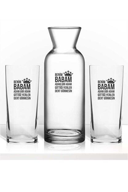 hediye-ci Babaya Özel Baba Için Özel Renkli Baskılı Ikili Rakı Bardağı Karaf Kadeh Set