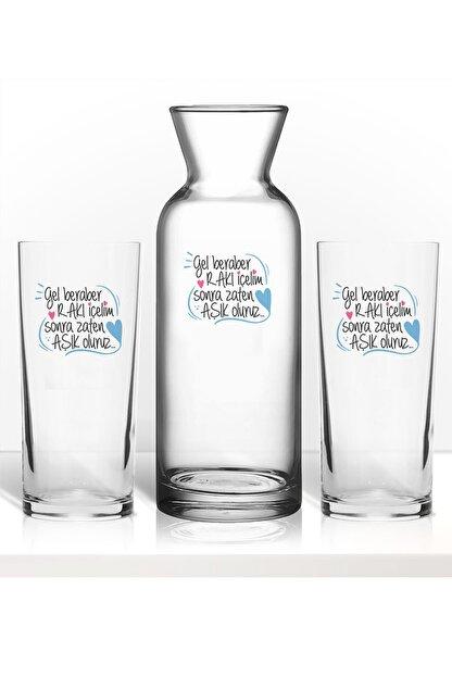 hediye-ci Rakı Sözleri Renkli Baskılı Ikili Rakı Bardağı Karaf Kadeh Set