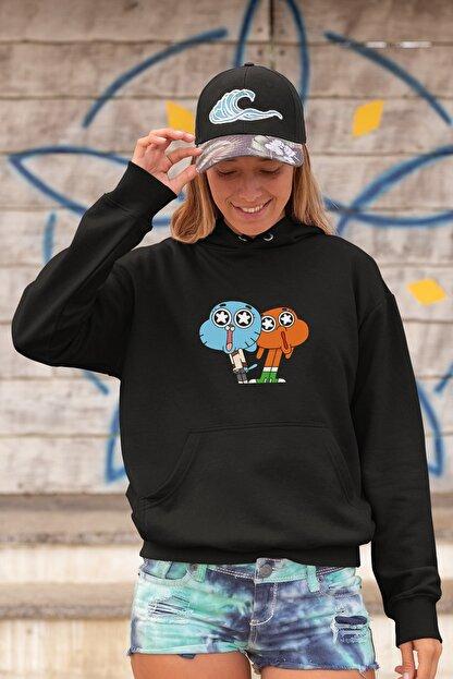Angemiel Wear Hayran Kalmış Darwin Ve Gumball Siyah Kadın Kapüşonlu Sweatshirt Çanta Kombin