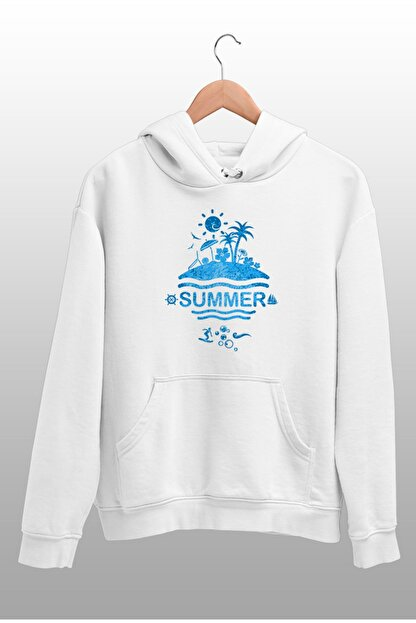 Angemiel Wear Summer Beyaz Erkek Kapüşonlu Sweatshirt Çanta Kombin
