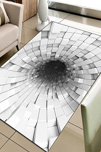 Else Halı 133X180 Else Hali Siyah Beyaz 3D Modern Dekoratif 3D Salon Halilari