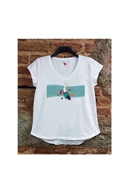 SCUBAPROMO Kadın Fredoom Beyaz Salaş T-shirt