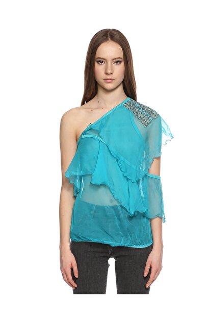 Ltd Jeans Tek Kollu Mavi Bluz