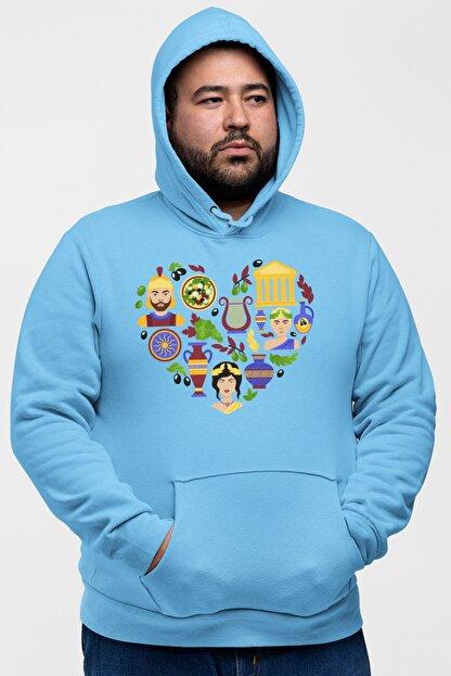 Angemiel Wear Kalp Içindeki Simgeler Mavi Erkek Kapüşonlu Sweatshirt