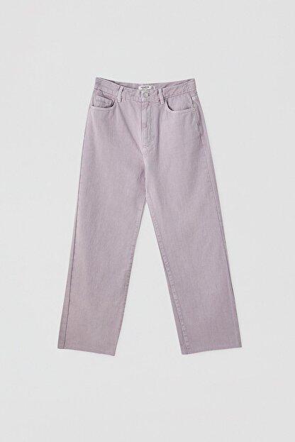 Pull & Bear Kadın Leylak Crop Straight Fit Jean 05670330