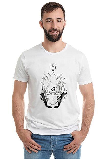 Collage Erkek Örme Tshirt Anime Naruto Baskılı Beyaz