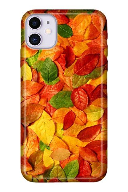 """Cekuonline Iphone 12 6.1"""" Tıpalı Kamera Korumalı Silikon Kılıf - Sonbahar Stok1260"""