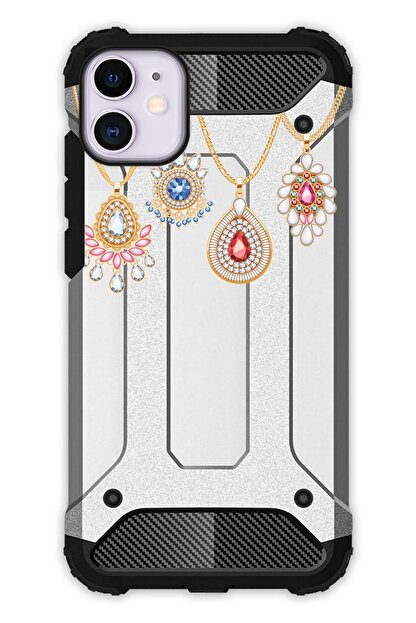 """Cekuonline Iphone 12 Mini 5.4"""" Kılıf Desenli Antishock Crash Kapak - Kolyeler"""