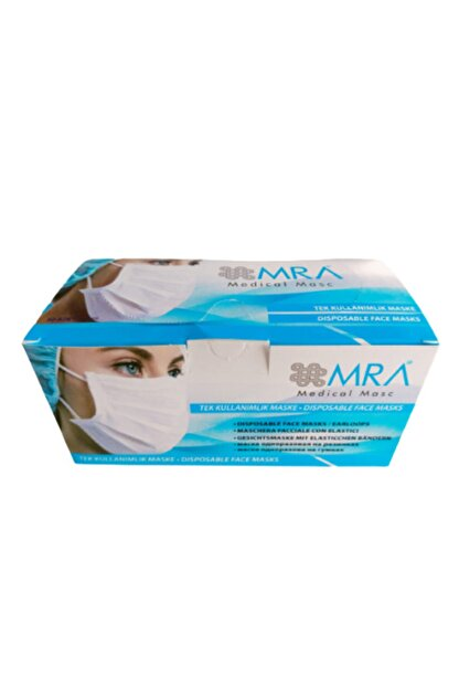 MASKE Tek Kullanımlık 3 Katlı Telli 50 Li Maske