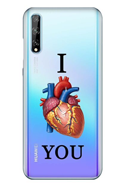cupcase Huawei Y8p Kılıf Resim Esnek Silikon Kapak Love U Desen + Temperli Cam