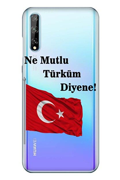 cupcase Huawei Y8p Kılıf Resim Esnek Silikon Kapak Türk Desen + Temperli Cam