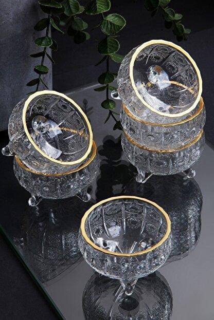 Queen's Kitchen 6 Adet Kristal Yaldızlı Cam 3 Ayaklı Lüx Lokumluk-çerezlik