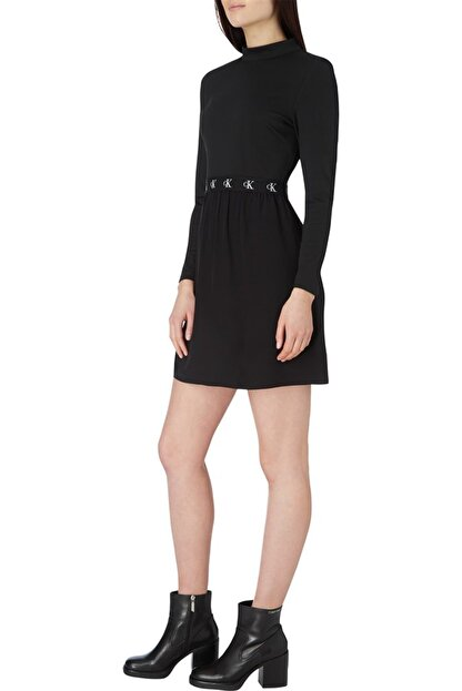 Calvin Klein Kadın Siyah Logo Elastıc Dress Elbise
