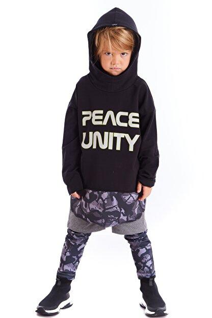 Colorinas Çocuk Siyah Unity Slogan Baskılı Sweatshirt