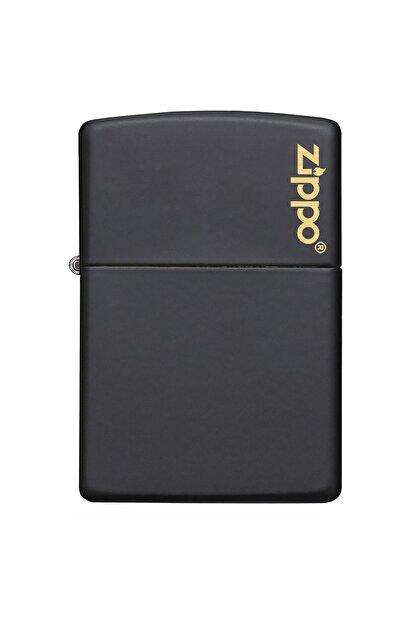 Zippo Çakmak Black Matte Siyah Logo 218Zl-000023