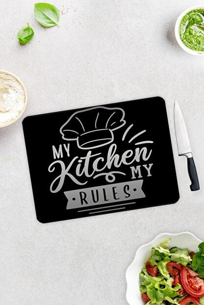 Decorita My Kitchen My Rules | Cam Kesme Tahtası - Cam Kesme Tablası | 30cm x 40cm