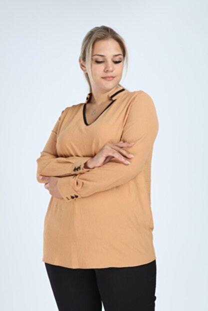 Lir Kadın Büyük Beden Uzun Kol Biyeli V Yaka Bluz Vizon