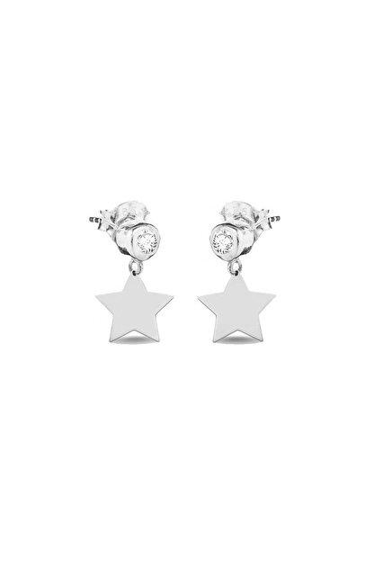 Femmevien 925 Ayar Gümüş Basic Tektaşlı Yıldız Küpe