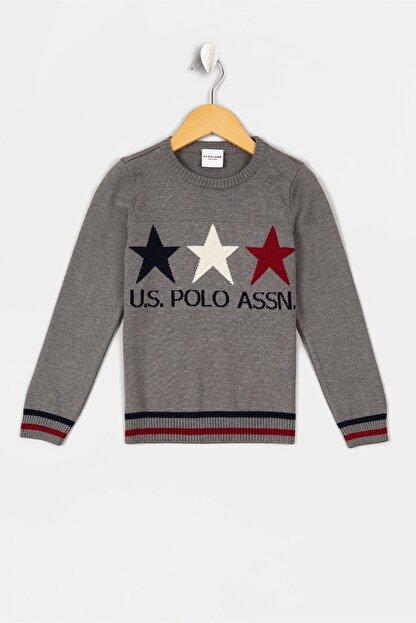 US Polo Assn Grı Erkek Çocuk Faust Triko Kazak