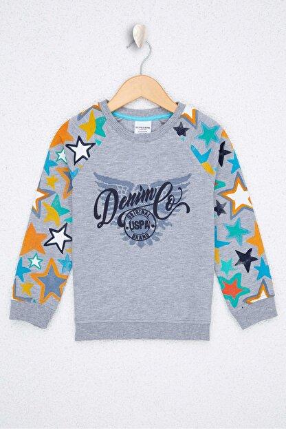 US Polo Assn Grı Melanj Erkek Çocuk Sweatshirt