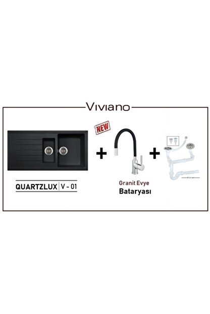 Vıvıano | | 1,5 Göz Siyah Granit Evye + Granit Evye Bataryası