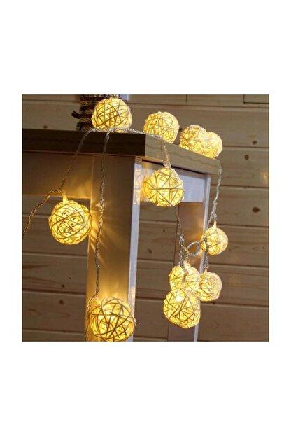 EVİMTATLIEVİM Dekoratif Bambu Hasır Topları Led Işık 10'lu