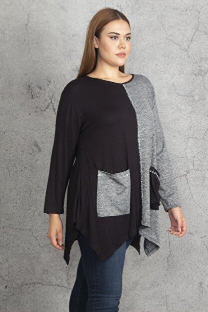 Şans Kadın Siyah İki Renkli Taş Ve Cep Detaylı Tunik 65N19686
