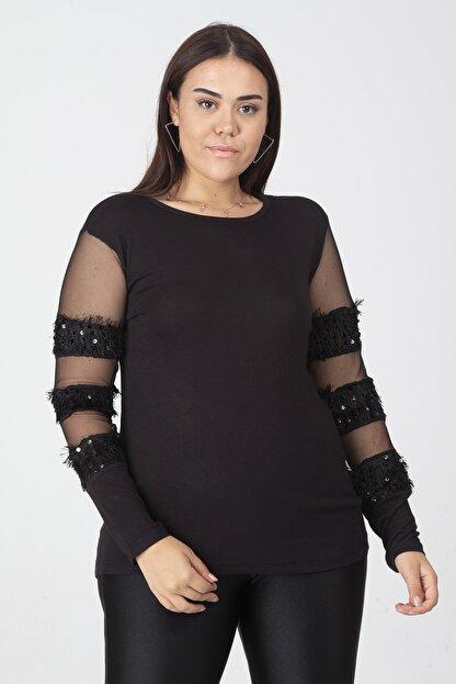 Şans Kadın Siyah Payet Ve Tül Detaylı Bluz 65N19465