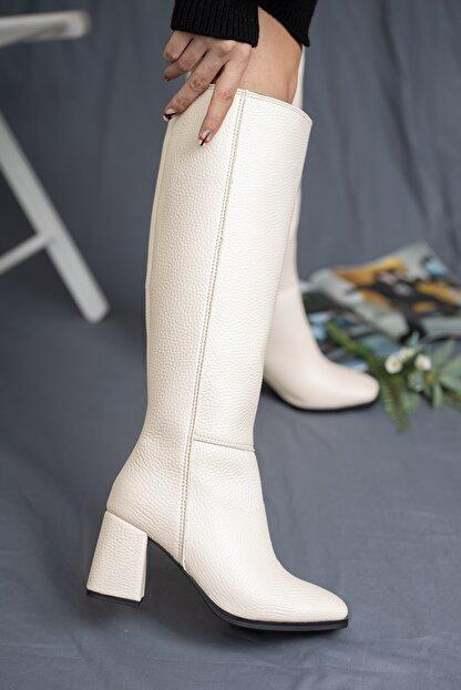 SHUMBU Kadın Kare Krem Pullu Cilt Çizme