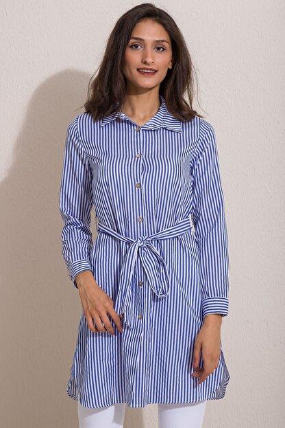 Kadın Modası Kadın Saks Düğmeli Kuşaklı Çizgili Tunik