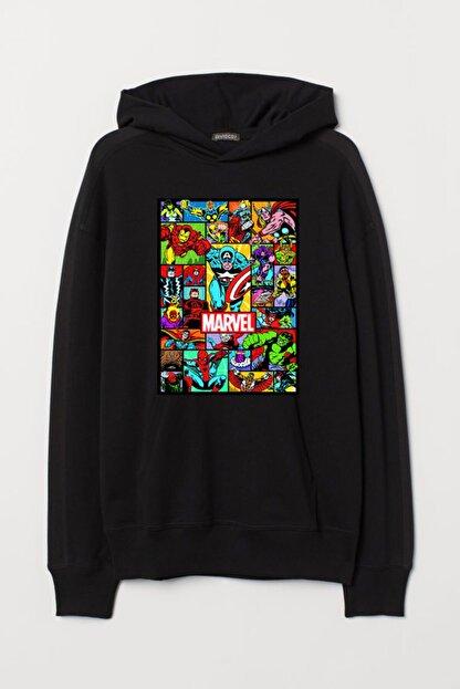 JOKERMERSİN Unisex Siyah Marvel Hoodie