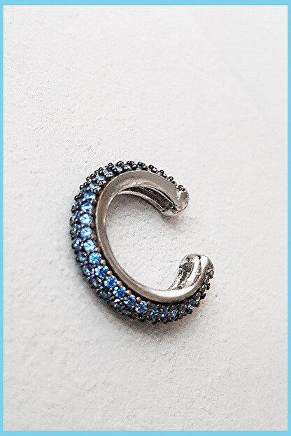MorMajor Silver Aqua Zirkon Taşlı Rodyum Kaplama Kıkırdak Gümüş