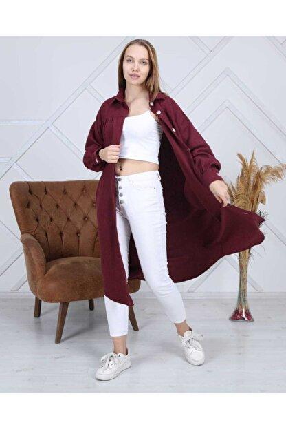 ATEMODAA Kadın Gömlek Elbise Bordo